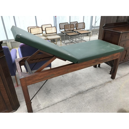 662 - A VINTAGE MAHOGANY MEDICAL BENCH...