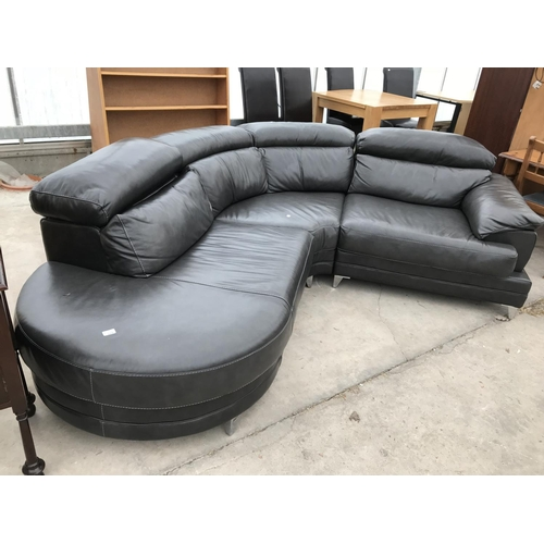 664 - A BLACK LEATHER CORNER SOFA- COST £3598 IN 2013...