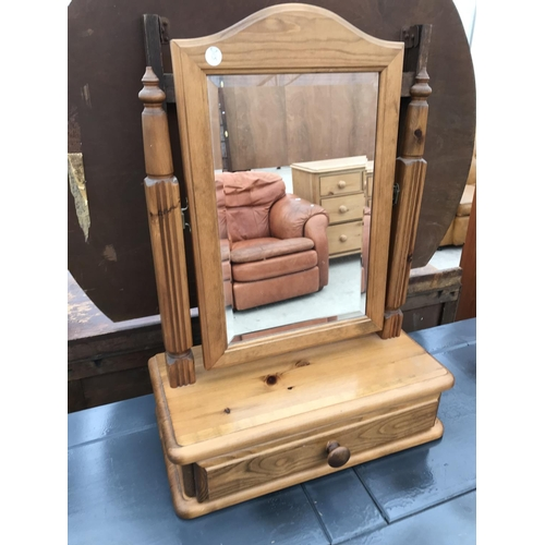 667 - A SHABBY CHIC PAINTED DRESSING TABLE WITH TWO DRAWERS AND A PINE DRESSING TABLE MIRROR...