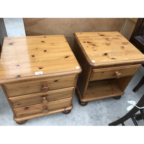 668 - TWO PINE BEDSIDE CABINETS...