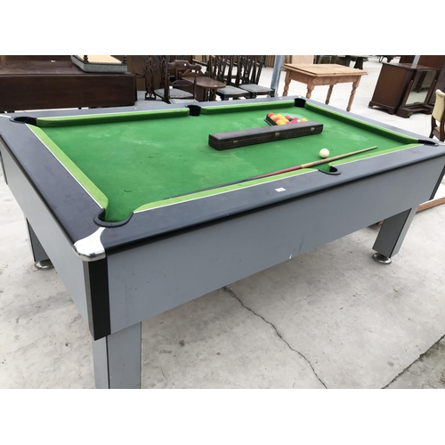 687 - A GOOD QUALITY 'SLATE BED EXCEL' POOL TABLE OVERALL DIMENSIONS 220CM X 127CM WITH POOL CUES AND SET ...