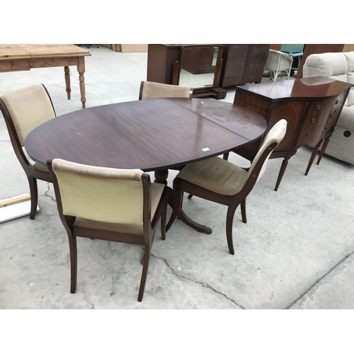 689 - AN INLAID MAHOGANY DINING TABLE WITH FOUR CHAIRS AND MATCHING SIDEBOARD...