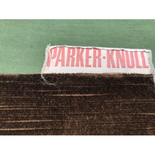 692 - A PARKER KNOLL BROWN FABRIC BUTTON BACK THREE SEATER SOFA...