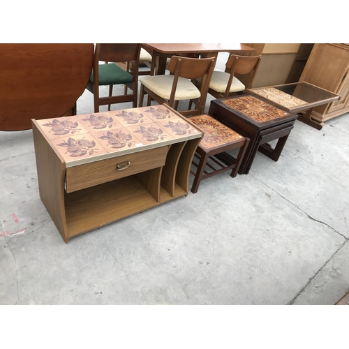 696 - FOUR TILED TOP ITEMS - TWO COFFEE TABLES, A SIDE TABLE AND A NEST OF TABLES...