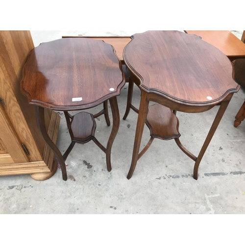 698 - TWO MAHOGANY SIDE TABLES, EACH WITH LOWER SHELF...
