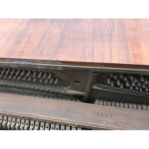 700 - A CRANE & SONS, BERLIN AND LIVERPOOL OVERSTRUNG UPRIGHT PIANO WITH DECORATIVE INLAY...