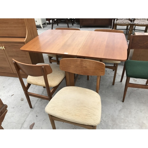 703 - A RETRO TEAK DROP LEAF DINING TABLE AND FOUR DINING CHAIRS...