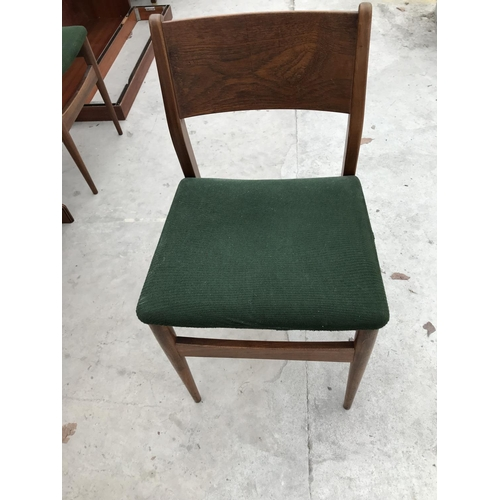 704 - A CHERRY WOOD DROP LEAF DINING TABLE AND TWO RETRO DINING CHAIRS...