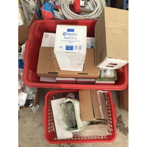 8 - TEN BOXES OF VARIOUS ELECTRICAL BOXES AND PLASTERING ITEMS - DRY LINING BOXES, CABLE CLIPS ETC...