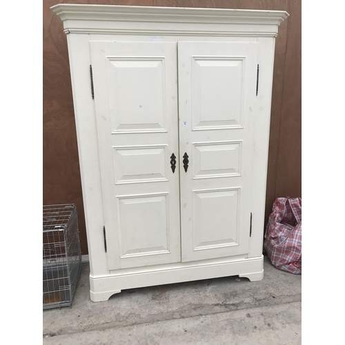 59 - A PAINTED PINE WARDROBE...