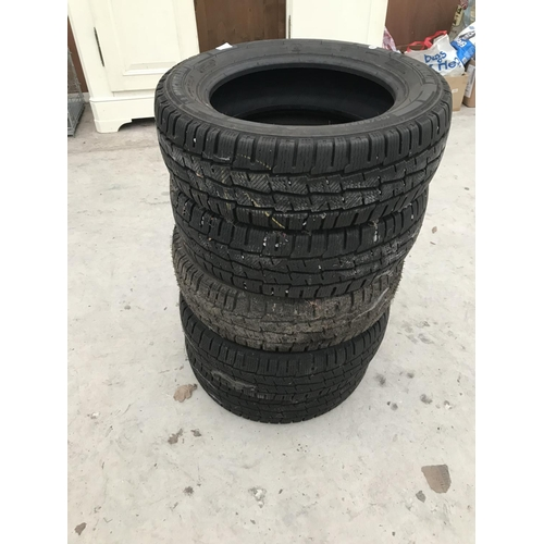 65 - FIVE 'SNOW' CAR TYRES INCLUDING MICHELIN 195/60R16...