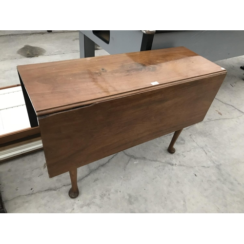713 - A MAHOGANY DROP LEAF DINING TABLE ON CABRIOLE SUPPORTS WITH TWO DRAWERS...