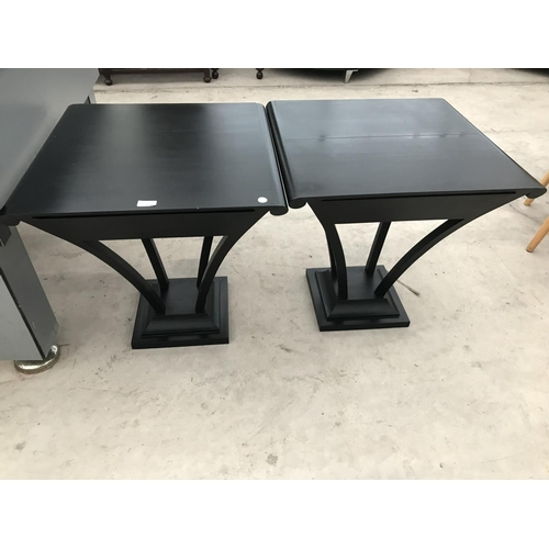 714 - TWO MODERN LAMP TABLES EACH WITH ONE DRAWER...