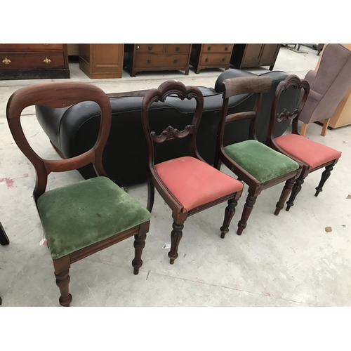 721 - FOUR VARIOUS VICTORIAN MAHOGANY DINING CHAIRS...
