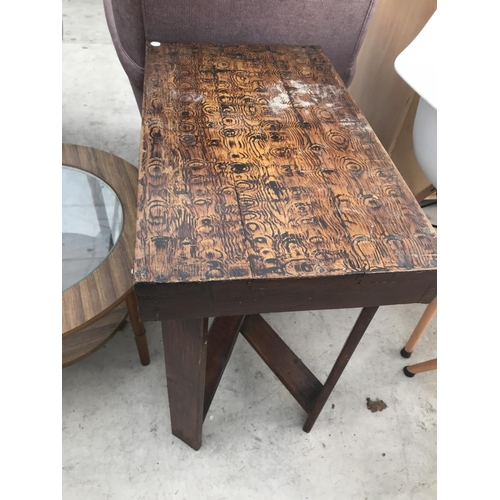 722 - TWO TABLES - ONE TEAK WITH GLASS TOP AND ONE SCUMBLED MAHOGANY...