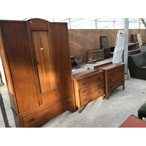 726 - A THREE PIECE SATINWOOD BEDROOM SUITE - A WARDROBE WITH ONE DOOR AND ONE DRAWER AND TWO CHESTS OF TH...