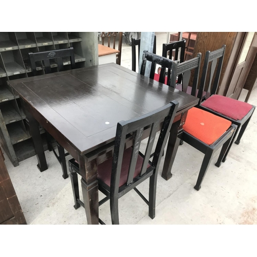 729 - AN OAK DRAW LEAF TABLE AND SIX DINING CHAIRS...