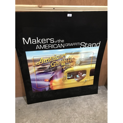 294 - A 1980'S 'AMERICAN GRAFFITI' ADVERTISING CARDBOARD FILM POSTER / STAND...
