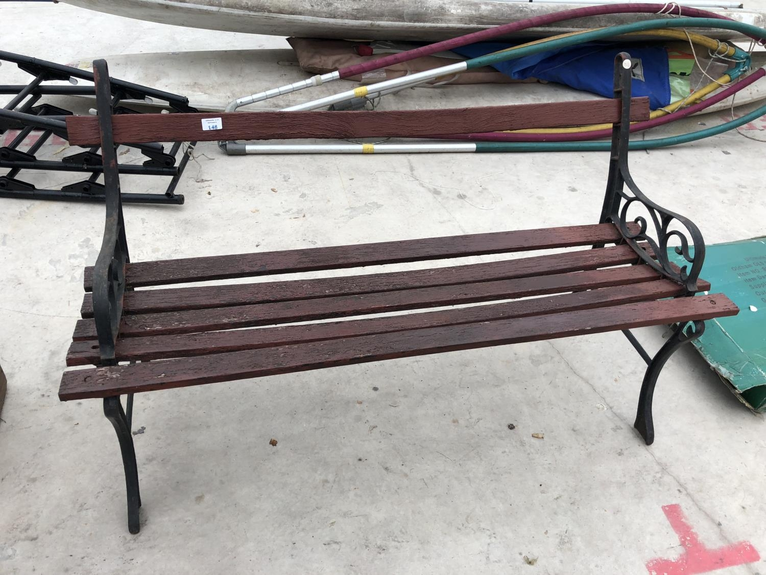 Tremendous A Vintage Wooden Garden Bench With Cast Metal Ends Caraccident5 Cool Chair Designs And Ideas Caraccident5Info