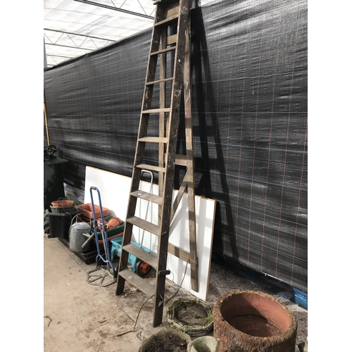 7 - A TEN RUNG SET OF WOODEN STEP LADDERS...