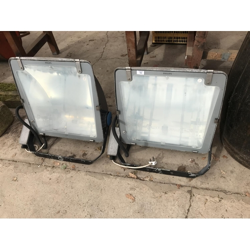43 - TWO VINTAGE PHILLIPS 1000 WATT FLOOD LIGHTS...