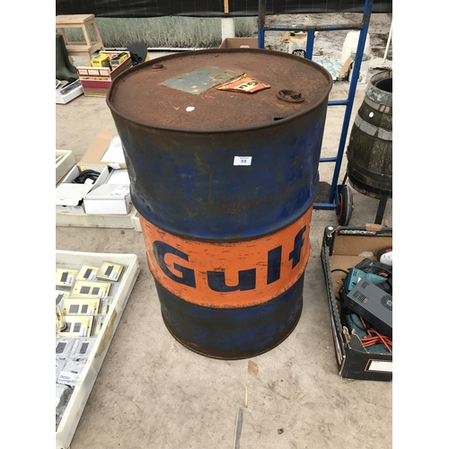 55 - A TWENTY FIVE GALLON 'GULF' OIL DRUM...