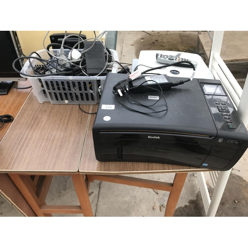 219 - A KODAK PRINTER, SKY BOX WITH REMOTE CONTROL, PHILIPS DVD PLAYER AND VARIOUS LEADS AND CHARGERS (MOS...