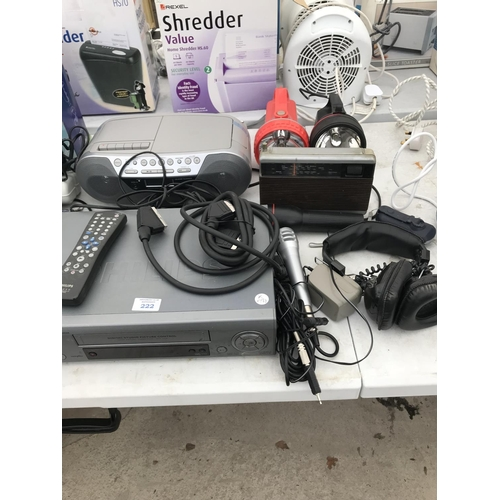 222 - VARIOUS ITEMS TO INCLUDE A PHILIPS VIDEO RECORDER, CD PLAYER, HEADPHONES, TORCHES ETC (MOST TESTED A...