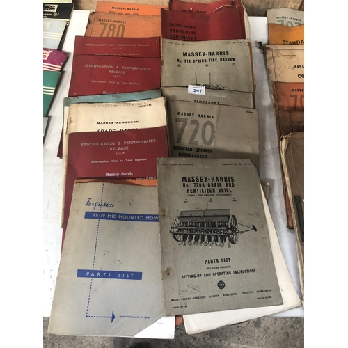 247 - A COLLECTION OF APPROX SIXTEEN ASSORTED 'MASSEY-HARRIS' TRACTOR / AGRICULTURAL BOOKLETS, SPARE PARTS...