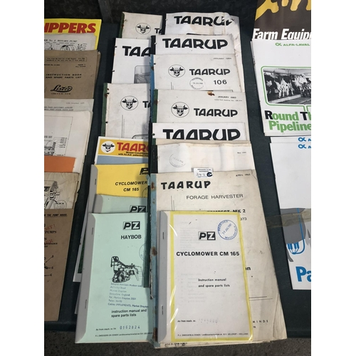 248C - A COLLECTION OF APPROX SIXTEEN ASSORTED 'TAARUP' TRACTOR / AGRICULTURAL BOOKLETS, SPARE PARTS MANUAL...