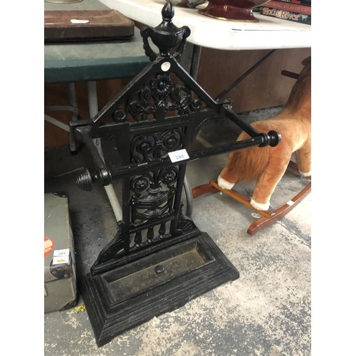 286 - A CAST IRON PAINTED STICK / HALL STAND...