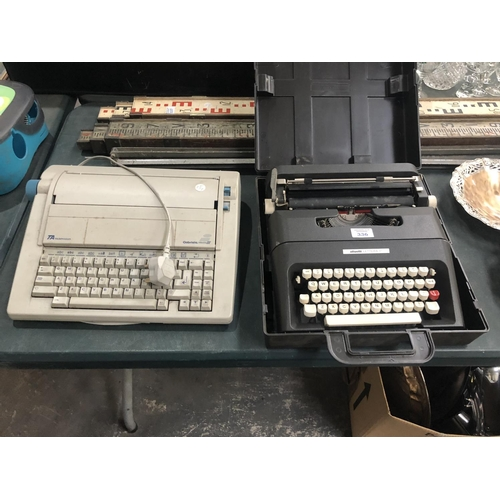 336 - TWO VINTAGE TYPE WRITERS TO INCLUDE AN 'OLIVETTI LETTERA' EXAMPLE (2)...