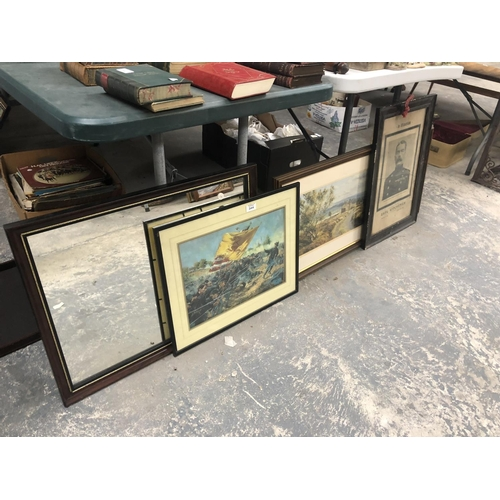 344 - A MIXED COLLECTION OF VARIOUS FRAMED PICTURES TO INCLUDE MIRROR, WAR PRINT, ETC (QTY)...