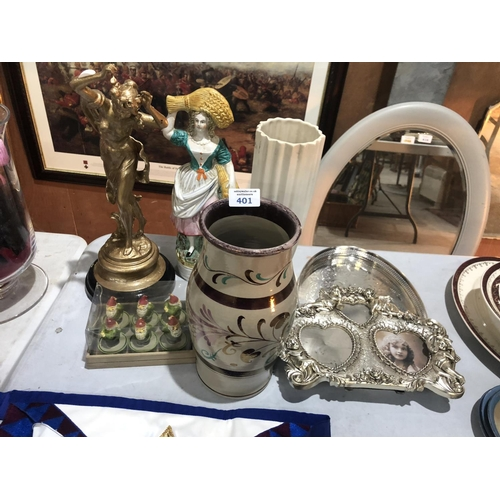 401 - A MIXED COLLECTION OF ITEMS TO INCLUDE STAFFORDSHIRE LADY MODEL, GRAYS POTTERY LUSTRE WARE VASE, ETC...