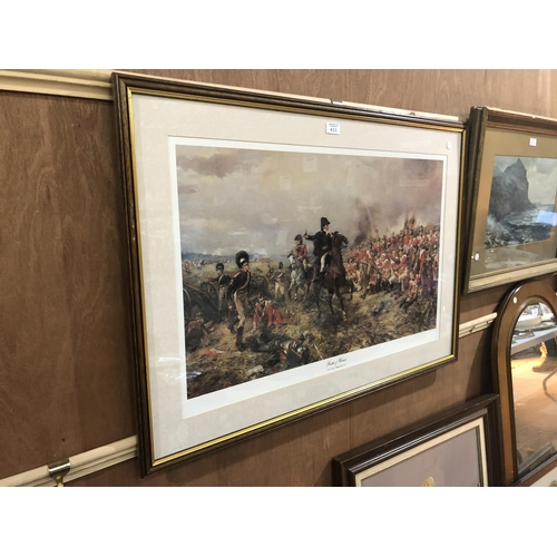 411 - A LARGE FRAMED 'BATTLE OF WATERLOO' MILITARY PRINT...