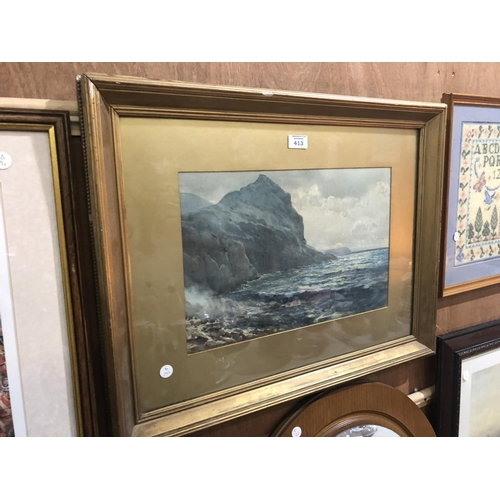 413 - A GILT FRAMED WATER COLOR OF A MOUNTAINOUS SEASCAPE...