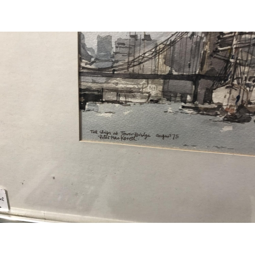 421 - TWO FRAMED PICTURES TO INCLUDE A PETER MAC KARELL WATER COLOR OF TOWER BRIDGE, DATED 75 TOGETHER WIT...