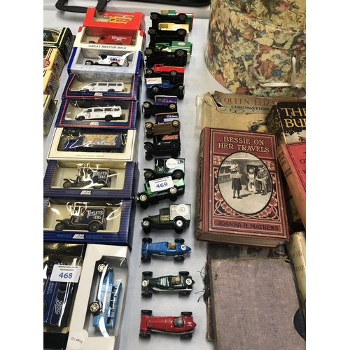 469 - A MIXED COLLECTION OF VARIOUS DIE CAST LOOSE MODELS TO INCLUDE RACING CARS, TRUCKS, ETC (QTY)...
