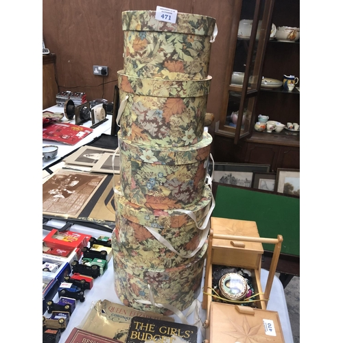 471 - A GRADUATED SET OF FIVE LADIES DECOUPAGE STYLE HAT BOXES...