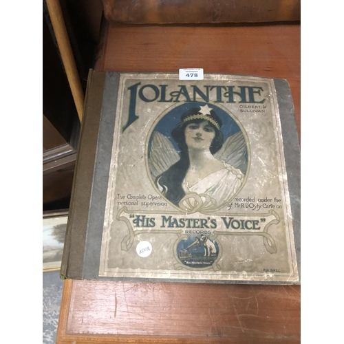 478 - A 'LOLANTHE' GILBERT AND SULLIVAN HIS MASTERS VOICE RECORD SET...