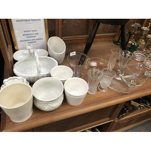 490 - A MIXED COLLECTION OF ASSORTED GLASSWARE AND CERAMICS TO INCLUDE WEAVE BASKETS ETC (QTY)...