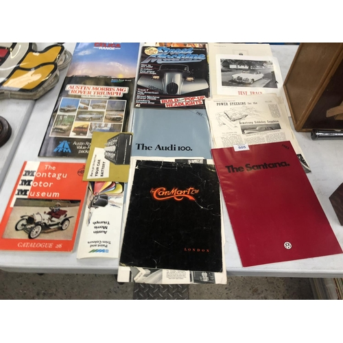 505 - A MIXED COLLECTION OF ASSORTED CAR BOOKLETS / CAR BROCHURES TO INCLUDE A 'TOYOTA CELICA', 'MORRIS', ...