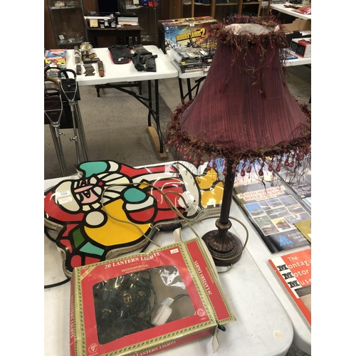 506 - A GROUP OF THREE ITEMS TO INCLUDE BEDSIDE LAMP, LIGHT UP SANTA DECORATION, ETC (3)...