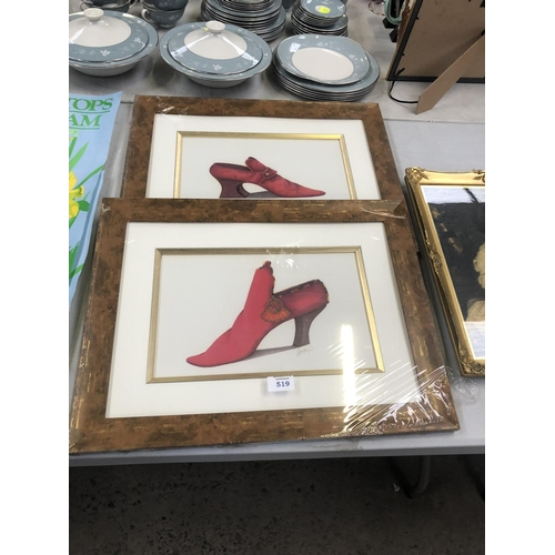 519 - TWO WALNUT EFFECT FRAMED PICTURES OF RED SHOES (2)...