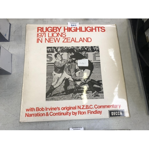 541 - A RUGBY HIGHLIGHTS, 1971 LIONS IN NEW ZEALAND COMMENTARY RECORD...