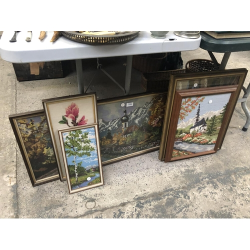555 - A COLLECTION OF FIVE ASSORTED FRAMED TAPESTRIES (5)...