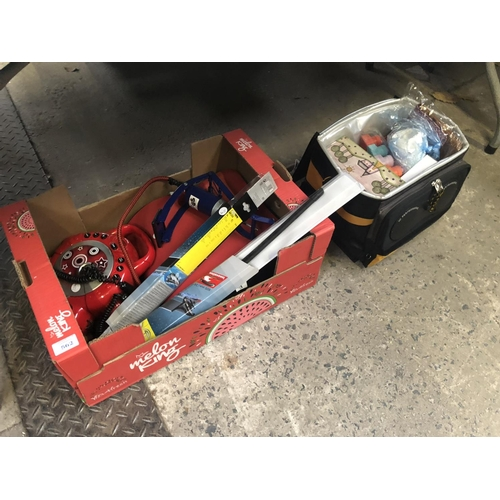 562 - TWO BOXES OF ASSORTED ITEMS TO INCLUDE 'BOSCH' BLADE WIPERS, FOOT PUMP, ETC (QTY)...