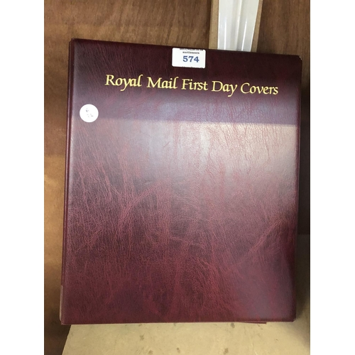 574 - A ROYAL MAIL FIRST DAY COVERS ALBUM WITH VARIOUS FIRST DAY COVERS...