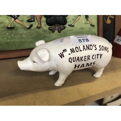 578 - A CAST IRON MODEL OF A 'QUAKER CITY HAMS' PIG...