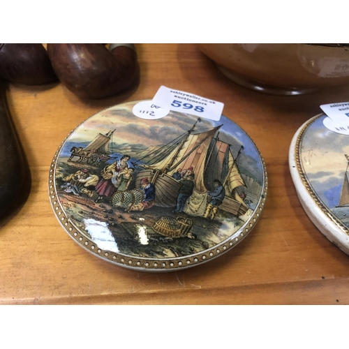 598 - A VINTAGE 'PRATTWARE' POT LID OF A BOATING SCENE...